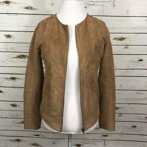 Hive & Honey Faux Suede Full Zip Camel Tan Jacket